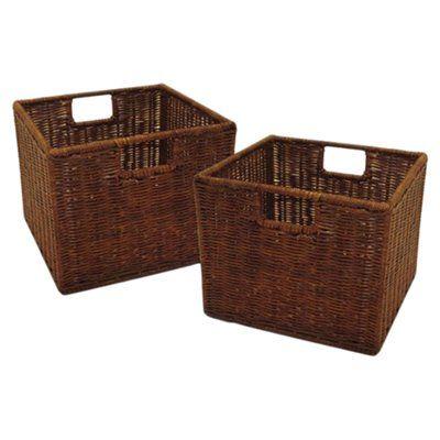 Red Barrel Studio Walnut Small Storage Basket Reviews Wayfair With Images Wicker Baskets Storage Small Storage Basket Storage Baskets