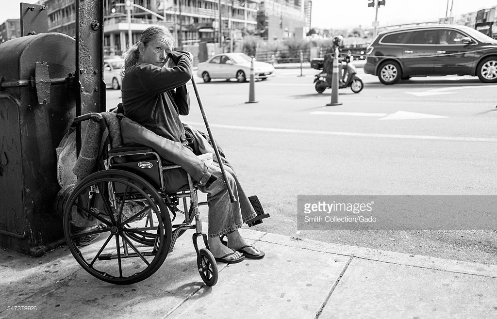 Black And White Portrait Of A Homeless Woman In A Wheelchair Holding Black And White Portraits Black And White Homeless