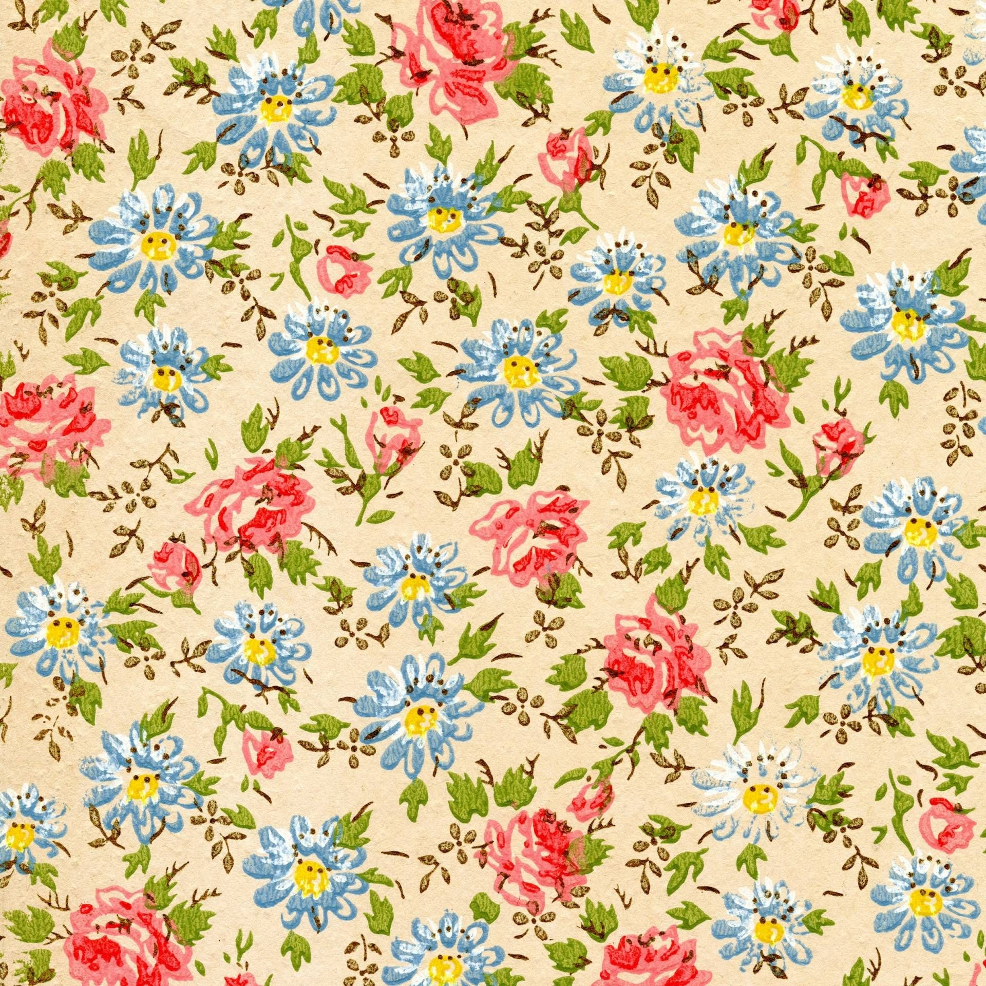 1940s Yellow And Blue Floral Vintage Wallpaper Yahoo Image