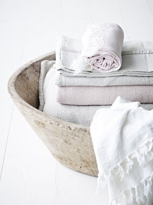 wood bowl for towels/natural materials in the home