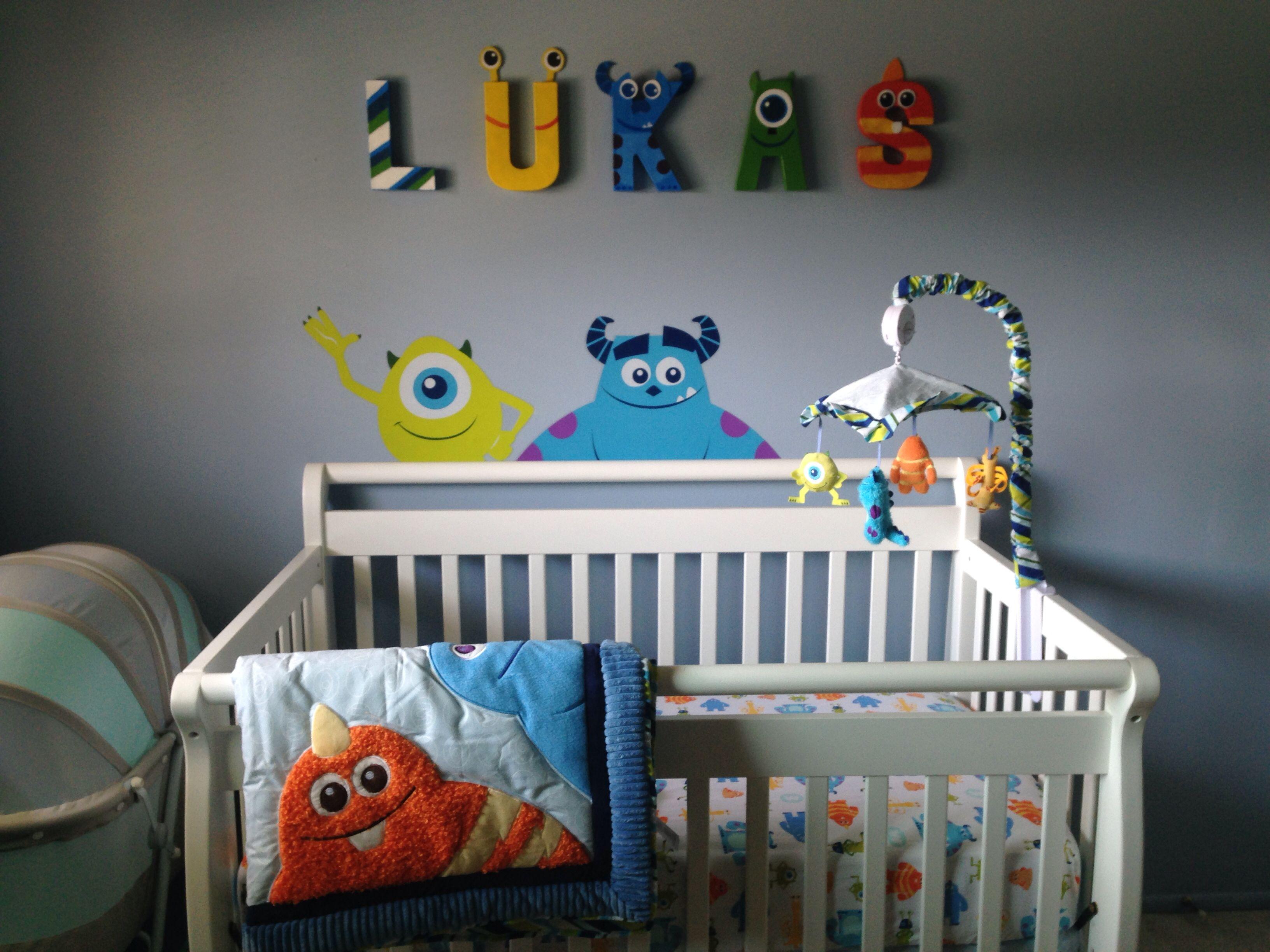Monsters Inc Nursery For Lukas Handmade Letters Labor Of Love Disney Baby Rooms Monsters Inc Nursery Monster Nursery