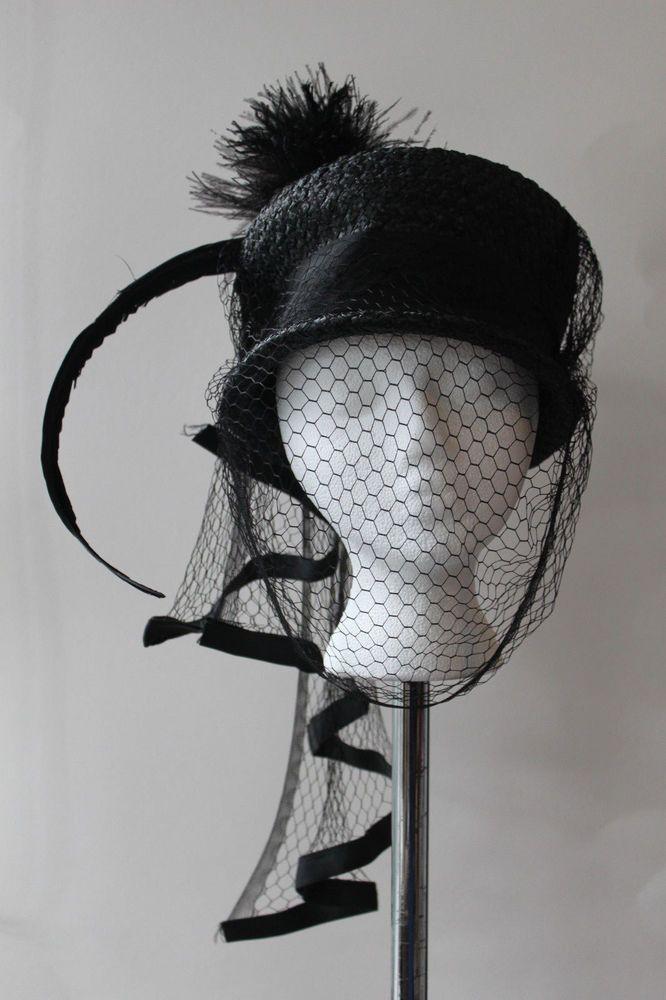 ba71a08d5ca Elegant Antique Vintage 20 s Black Straw Pillbox Hat Net Veil Feather  Womens  Unbranded  Pillbox