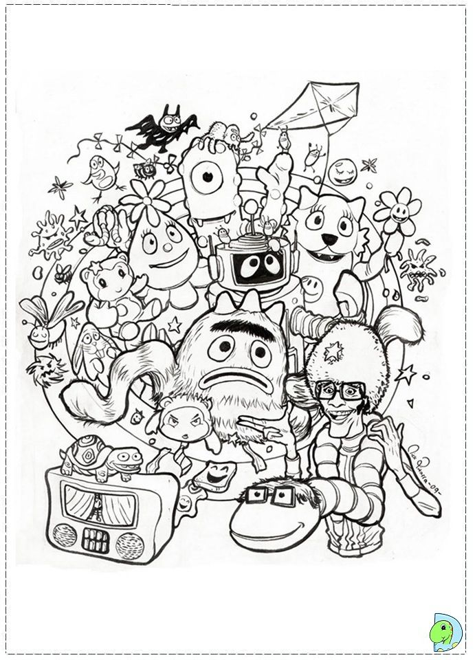 Yo Gabba Gabba Coloring Page Dinokids Org Doodle Coloring Cartoon Coloring Pages Yo Gabba Gabba