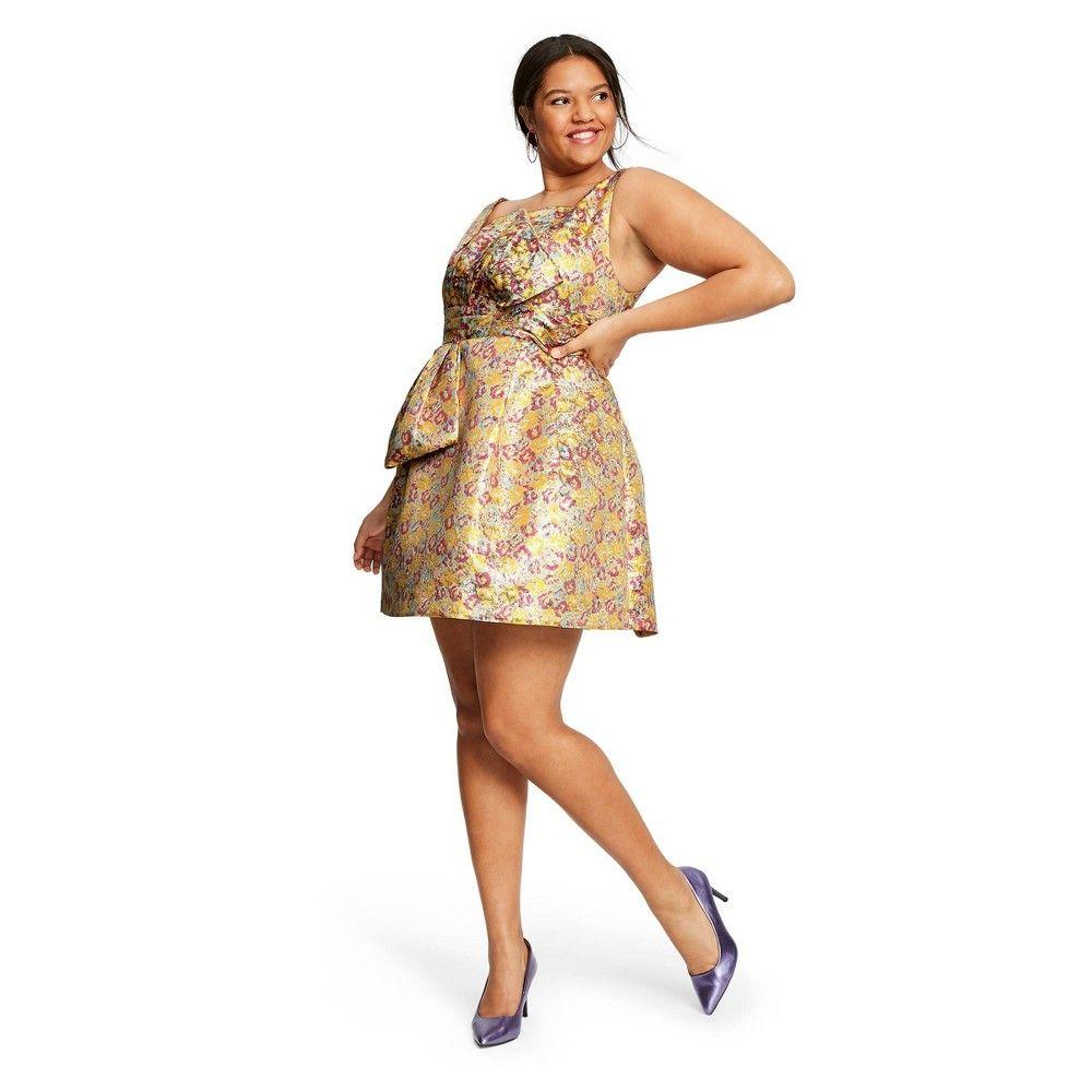 Women S Plus Size Floral Print Sleeveless Brocade Mini Dress Zac Posen For Target Yellow Pink 22w Plus Size Cocktail Dresses Best Cocktail Dresses Mini Dress [ 1000 x 1000 Pixel ]