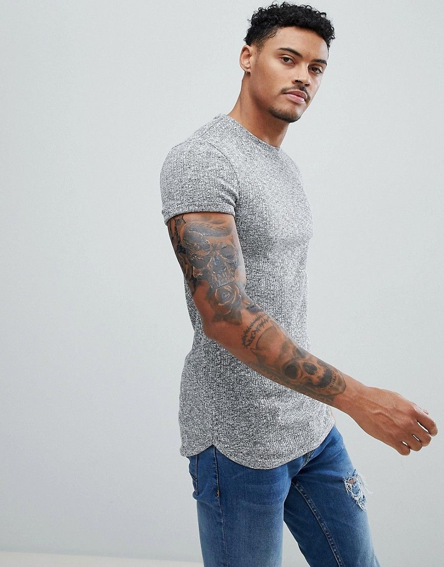 7d83e993 muscle fit Longline T-Shirt With Curved Bound Hem And Roll Sleeve In ...