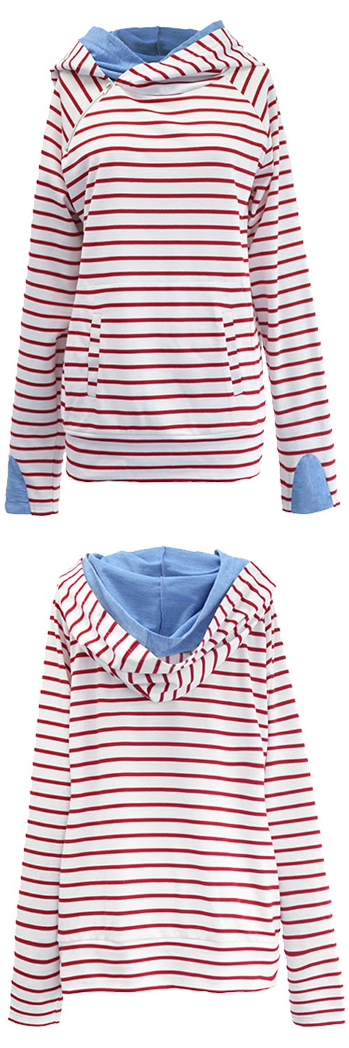 Free shipping+easy return! This casually cute top is perfect for the fall transition. Can Not Miss it, $37.99! It has double fabric hood & Irregular zipper at front. Plus, the fabric is super soft and comfy!