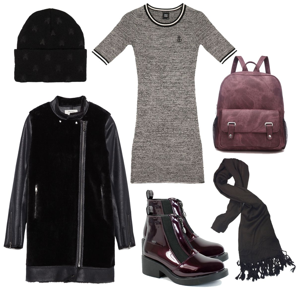 Bonfire Night is around the corner, get Winter warm with Drop Dead's Blasphemy Dress and Buzzing Beanie. Teamed with La Moda chelsea boots, a beautiful Zara Coat and La Moda Accessories.