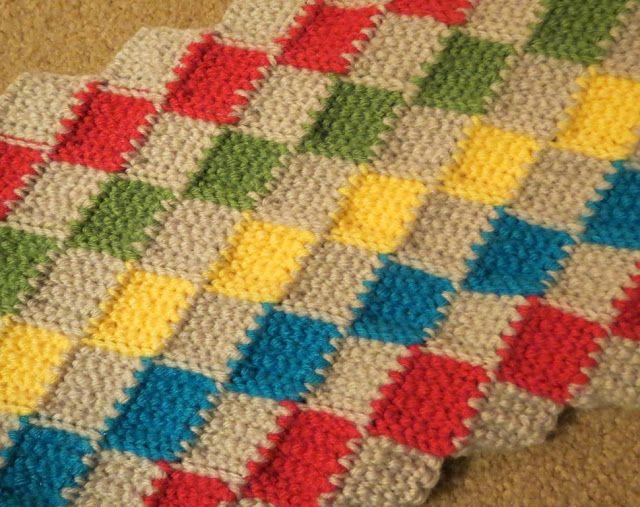 Entrelac crochet | Tunesino | Pinterest | Crochet tunecino