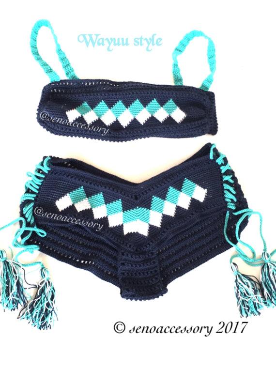Ethnic Pattern Wayuu Bikini Crochet Bikini Boy Shorts Bottom Womens ...