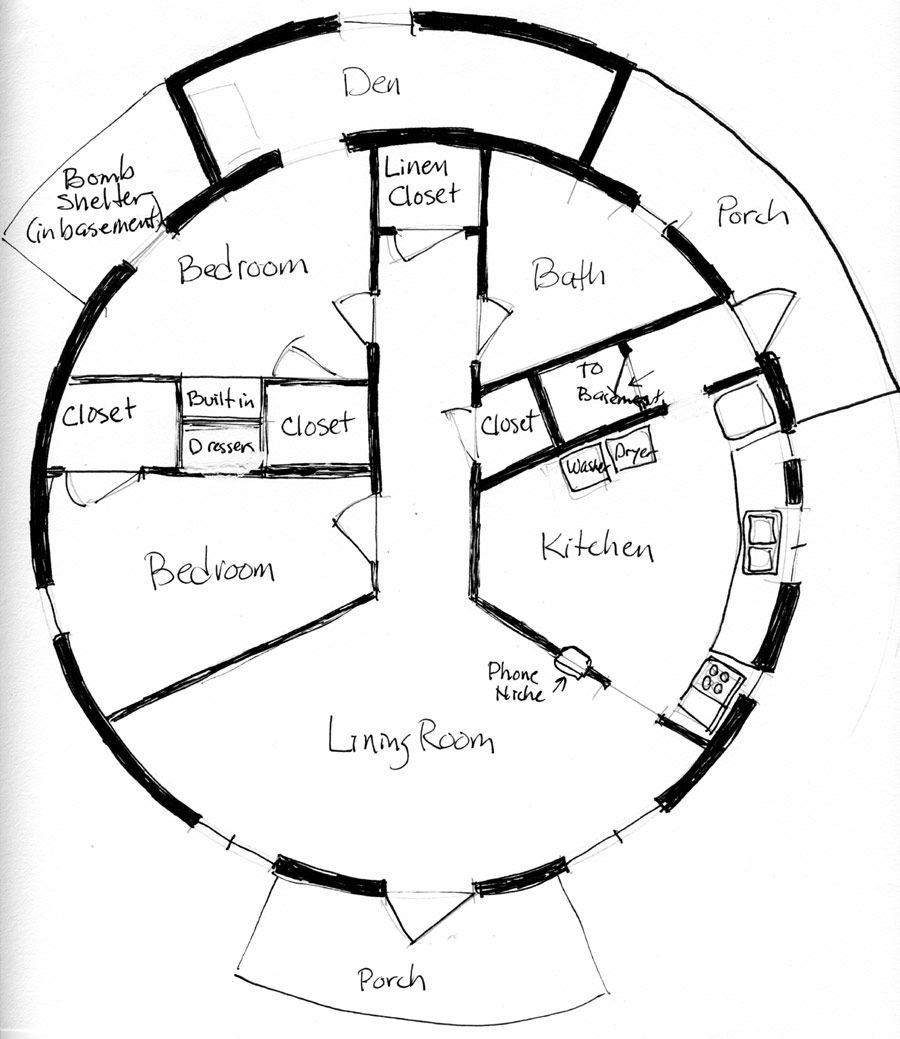 Round house floor plans architecture triple roundhouse for Round house plans free