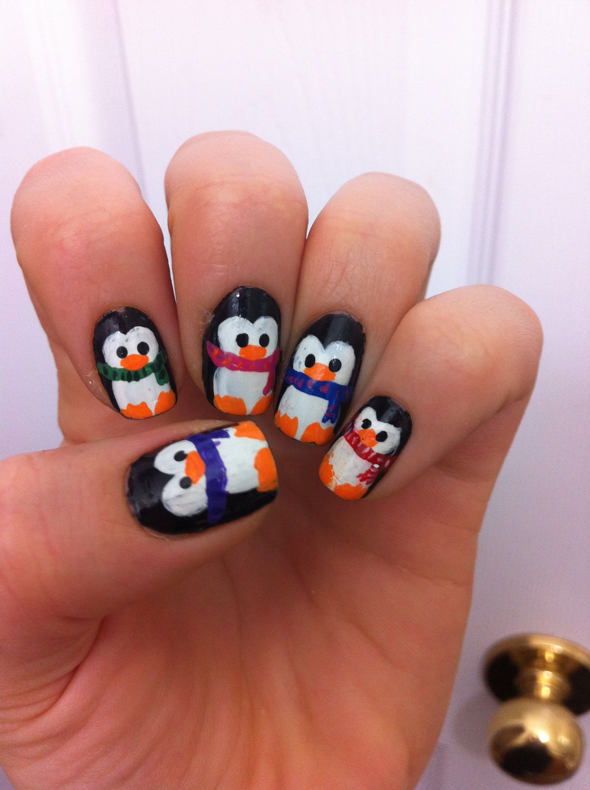 Cute penguins Winter nails | Nails I've painted ...