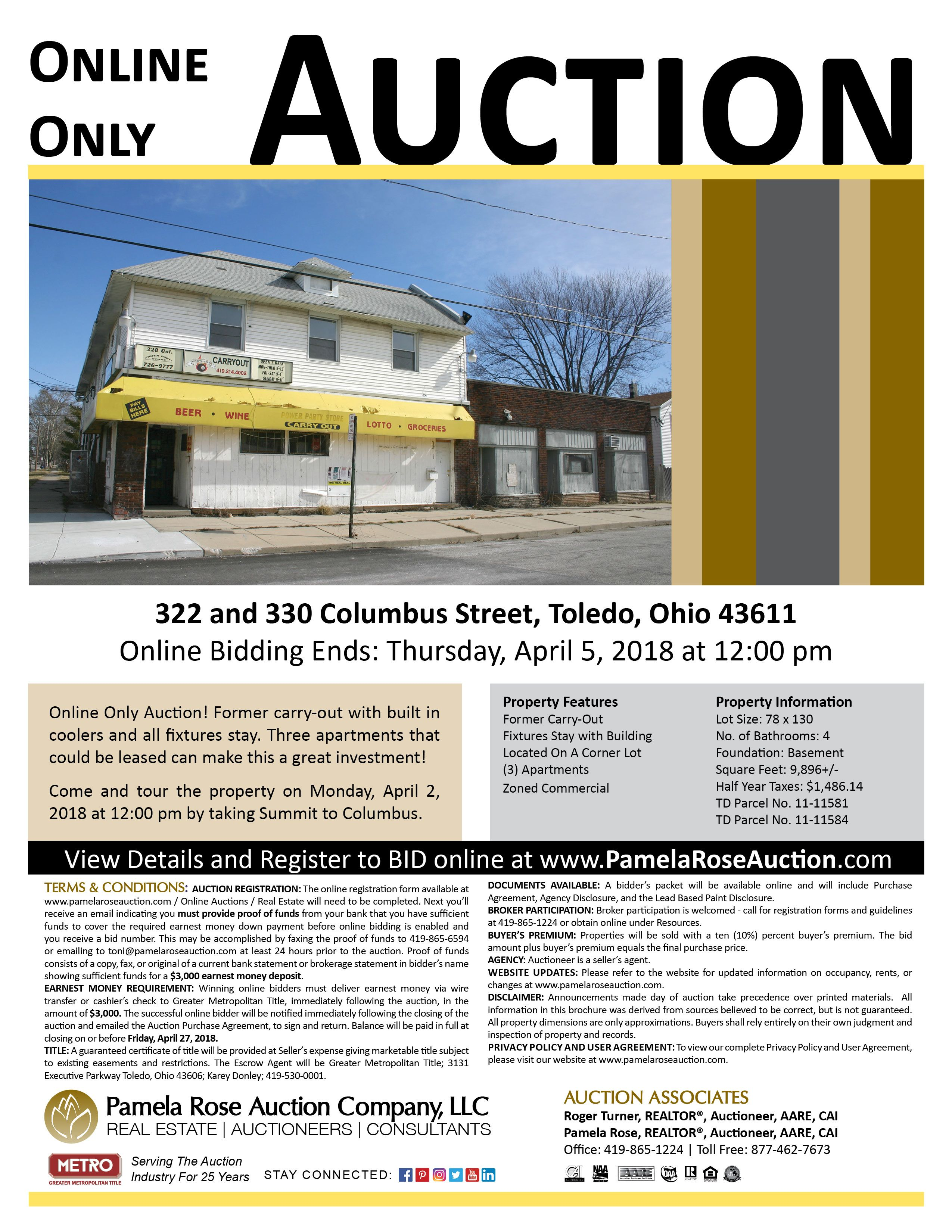 Retail Commercial Building In Toledo Online Only Auction 322 And 330 Columbus Street Toledo Ohio 43611 Bidding Ends Commercial Property Auction Property