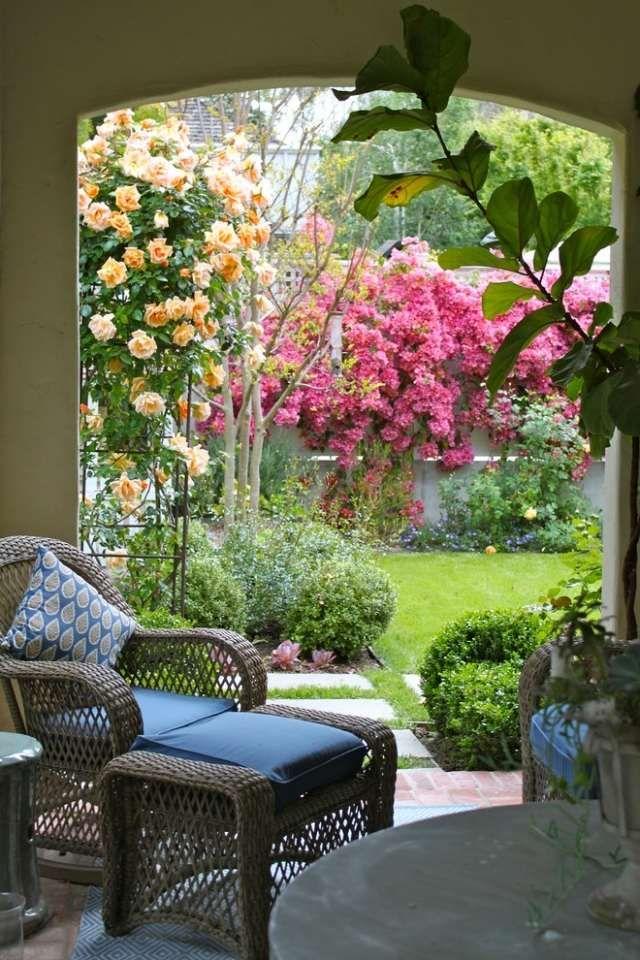 Gestaltungstipps terrasse im garten  mediterran terrasse gartengestaltung laube kletterrose buchsbaum ...