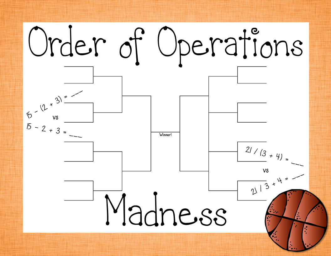 worksheet Basketball Worksheets order of operations madness with basketball brackets