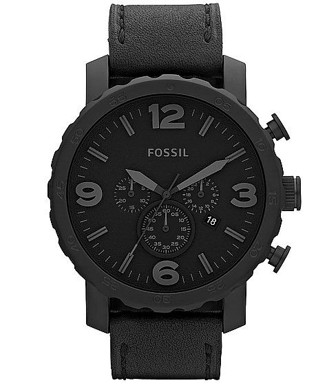 a108be7a7977 Fossil Nate Black Leather Watch