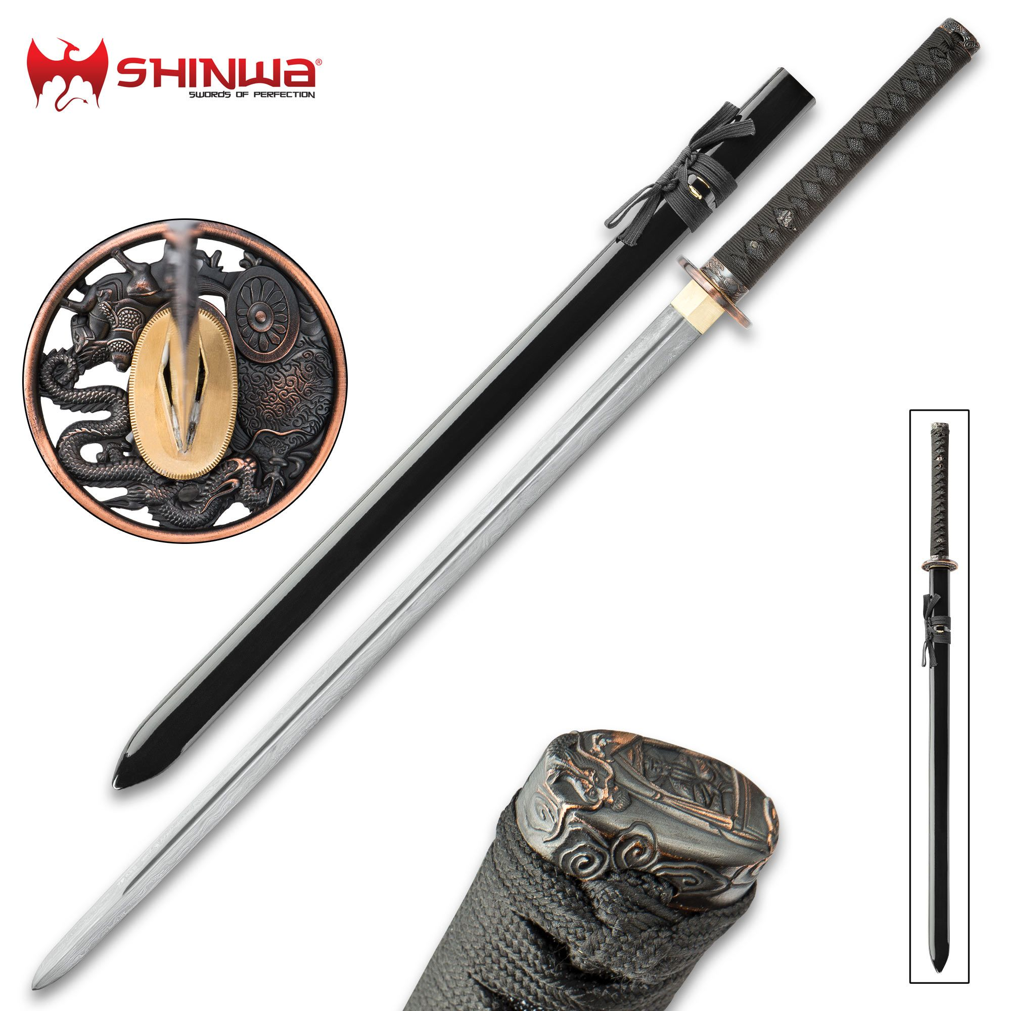 Shinwa Dragon Lord Handmade Katana Samurai Sword Double Edged Hand Forged Damascus Steel 1 000 Layers Distinctive Custom D Katana Samurai Swords Sword