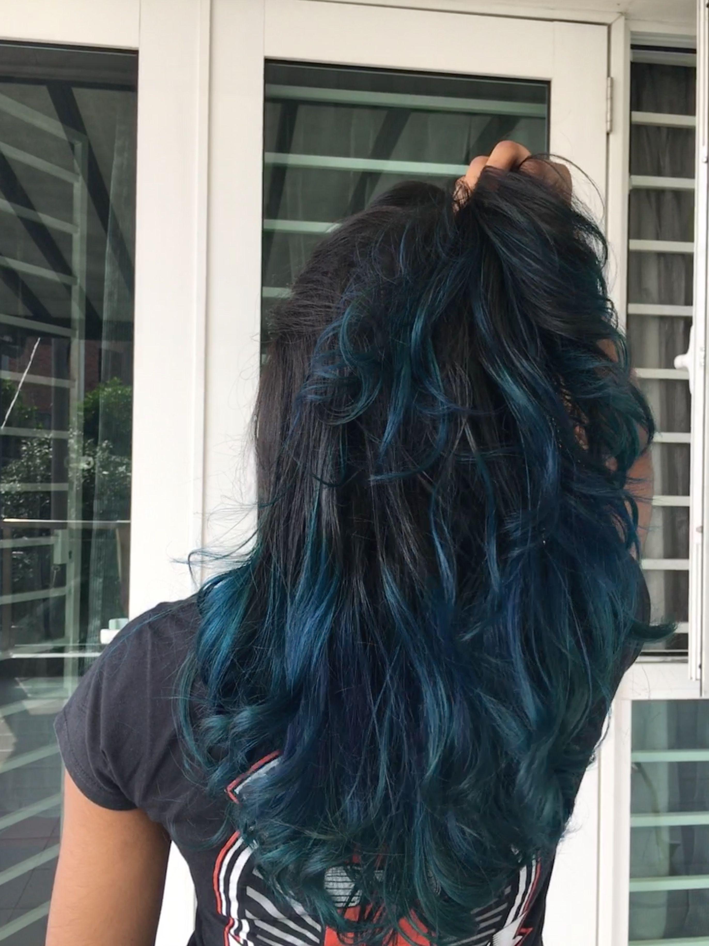 Ombre Blue Hair Midnightblue Royalblue Blue Ombre Hair Hair Styles Ombre Hair Color