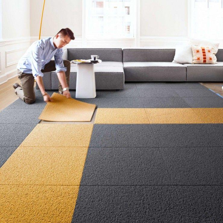 Attirant Modular Carpet Tiles For Contemporary Living Room