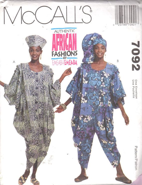 McCalls 7092 Misses Authentic African Dress Jumpsuit Pattern EMEABA ...