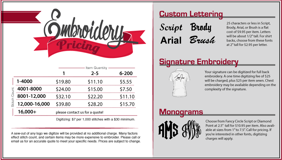 Our Custom Embroidery Price List Is Unbeatable At St Louis T Shirt
