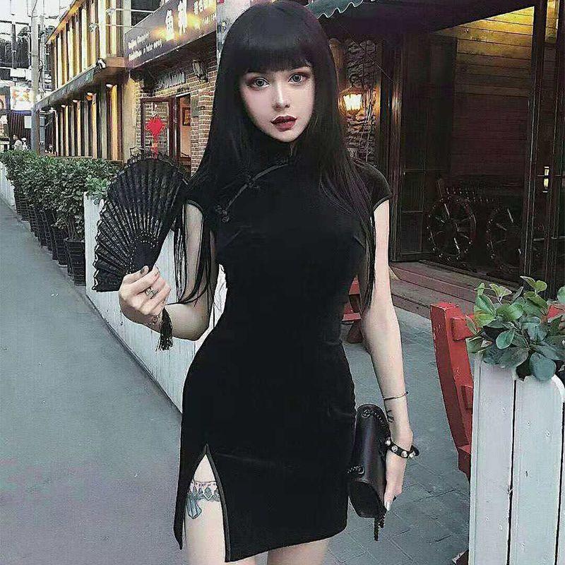 チャイナドレス ワンピース 女子会 スタンドネック ショート丈 ベルベット S M L ブラック 黒