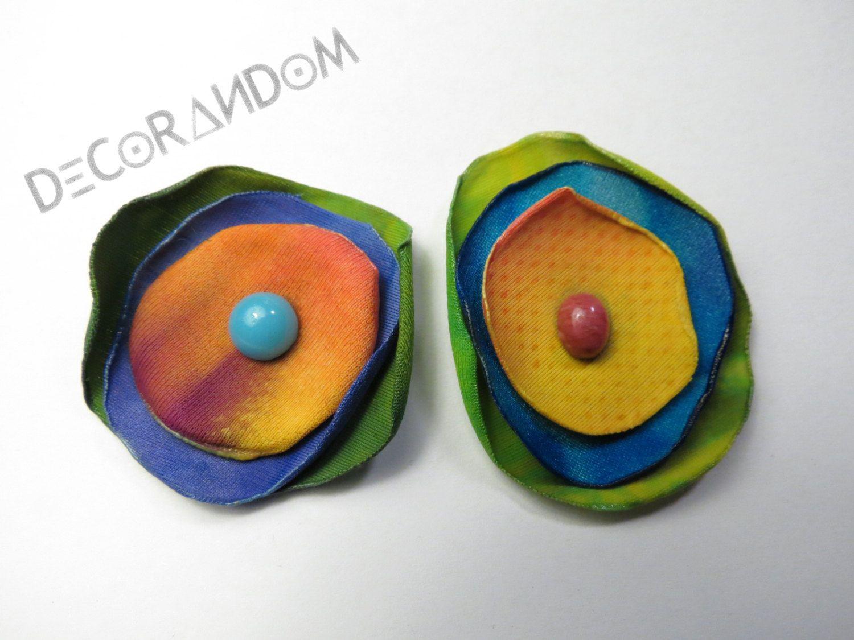 orecchini fiore di stoffa multicolor  stoffa riciclata recycled jewelry of4 di decorandom su Etsy