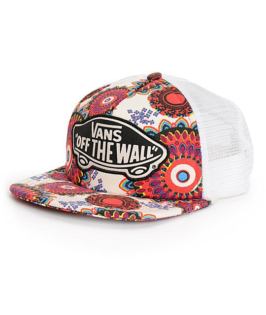 50b8a9fc28d A geo floral print canvas bill and padded front panels are finished with a  Vans