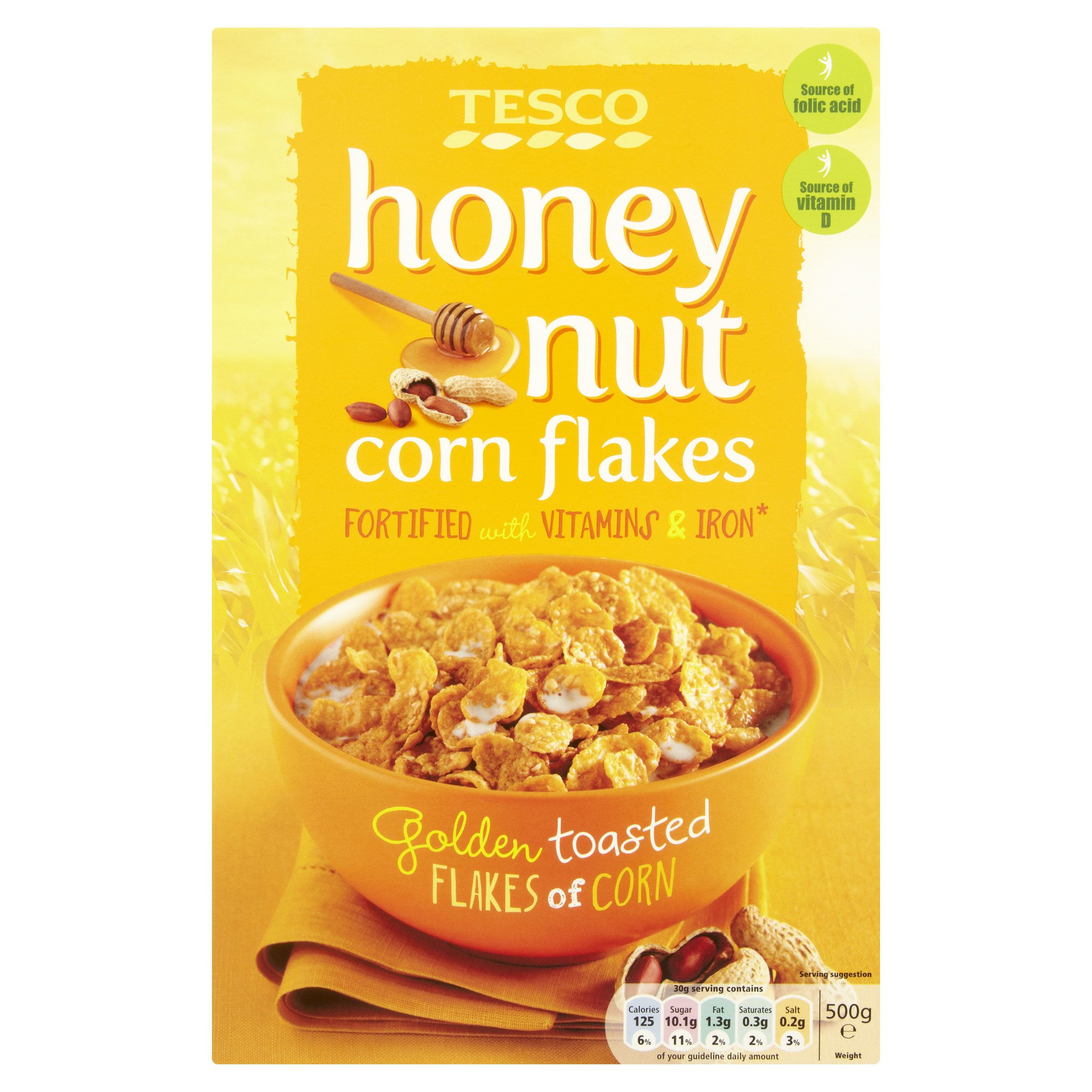 Tesco Honey Nut Corn Flakes Golden Toasted Flakes Of Corn