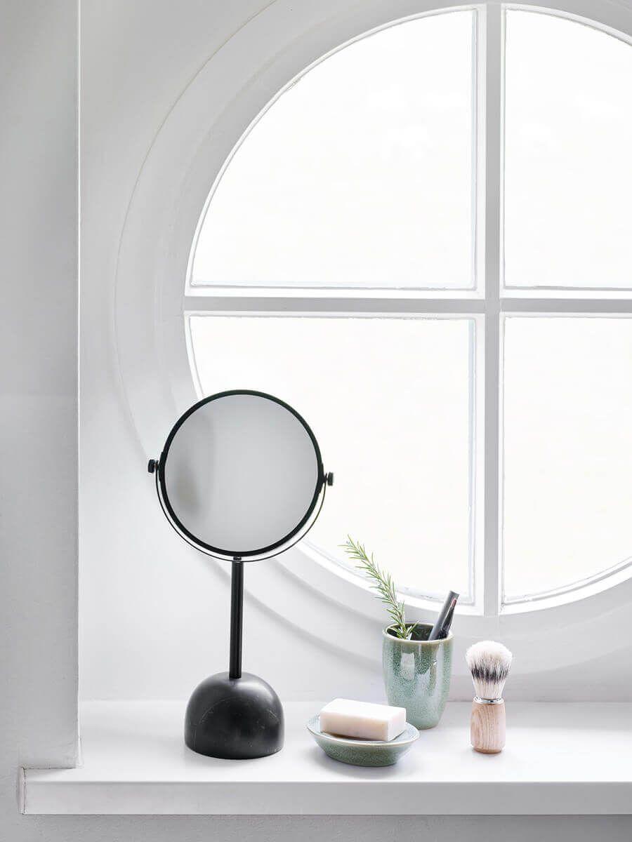 Black Is Beautiful Tischspiegel Mit Dunklem Naturstein Sockel