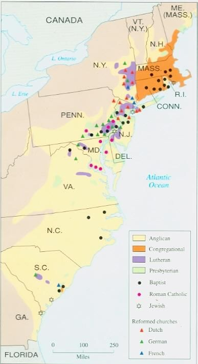 Religious Map Of The 13 United States Colonies Circa 1750 History