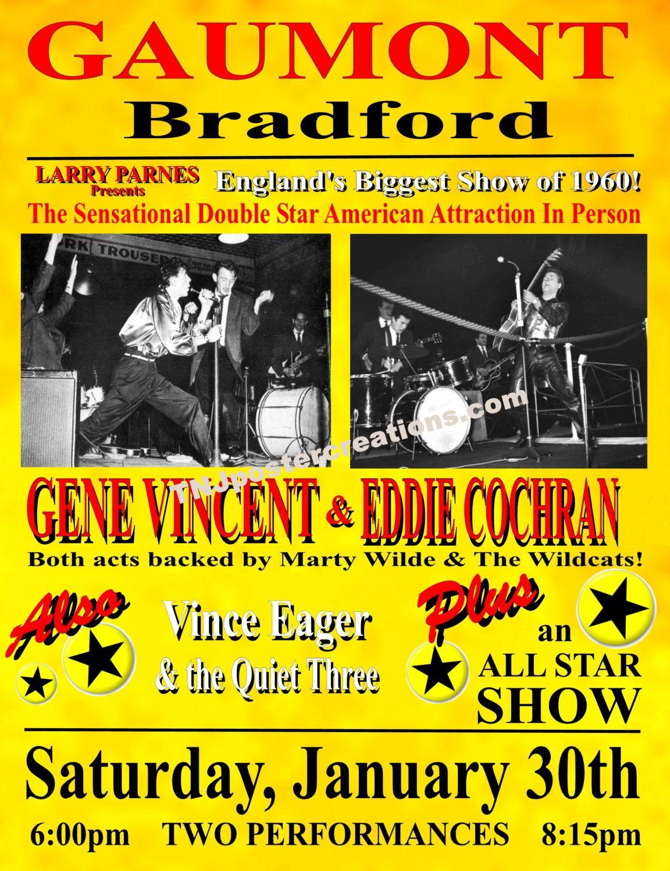 Manchester Music Concert Poster Print Vintage Gene Vincent Eddie Cochran