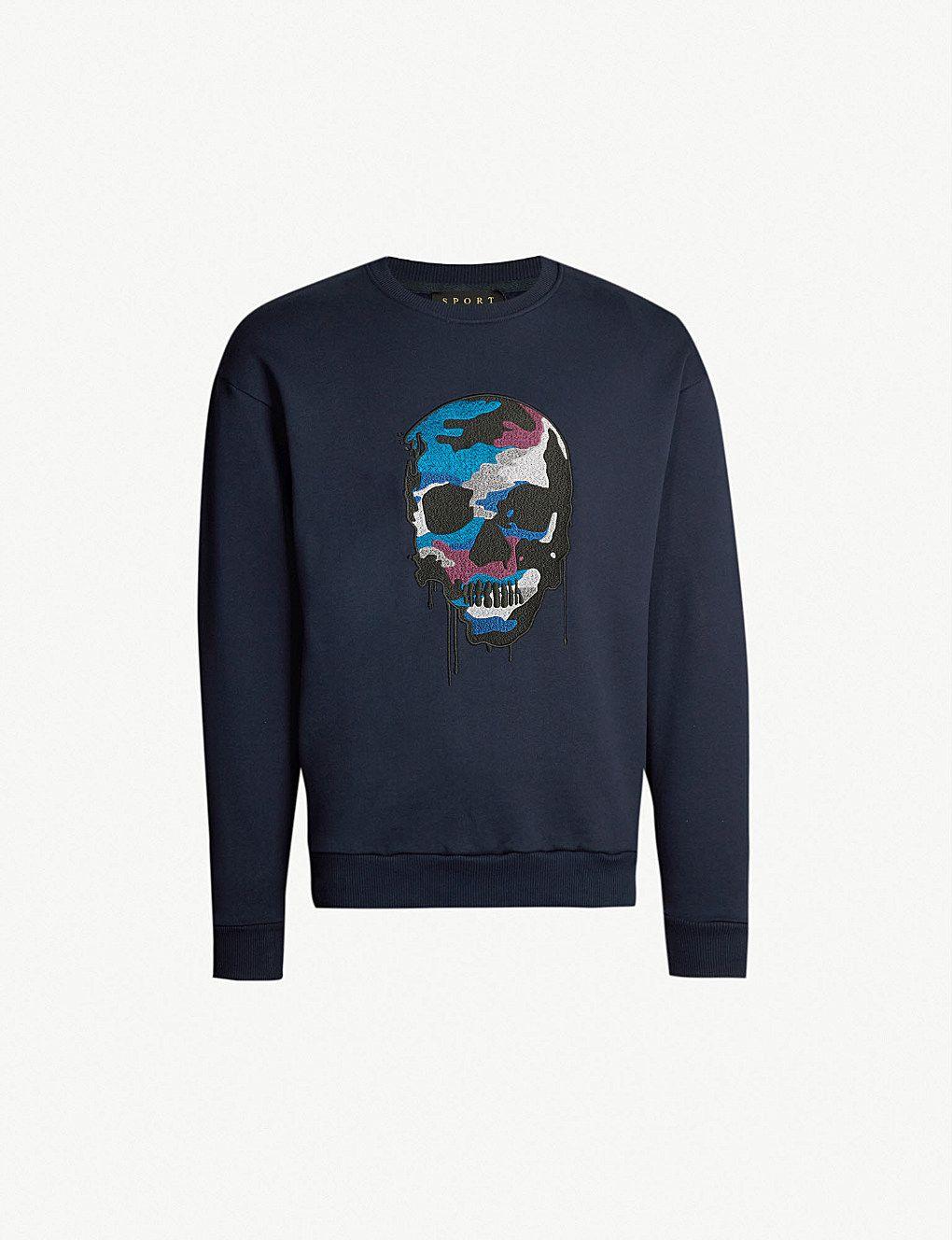 e22d7059f56 THE KOOPLES - Skull-embroidered cotton-jersey sweatshirt | Selfridges.com