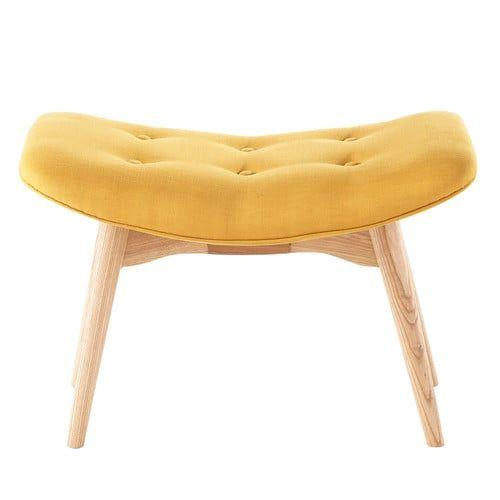 Puf reposapiés vintage de tela amarillo | Salón | Pinterest | Tela ...