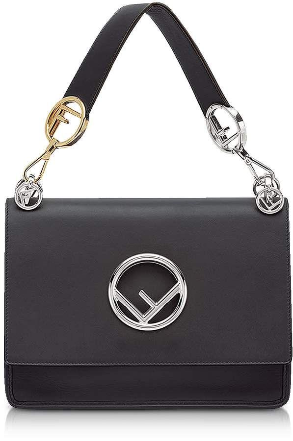 e5e7239b102 Fendi Kan I Logo Medium Black Leather Top Handle Satchel Bag   Products