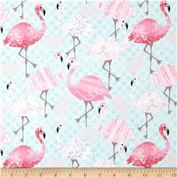 Timeless Treasures Flamingos Aqua