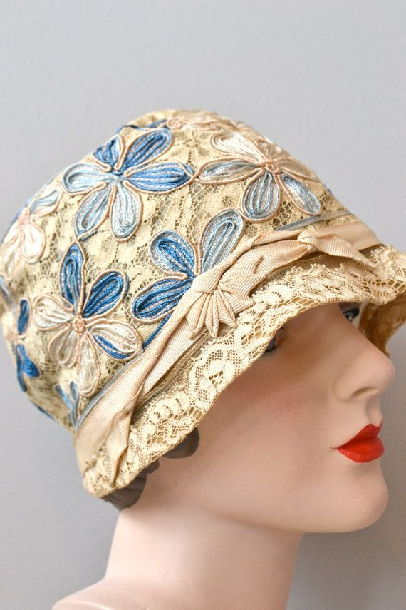 May Day cloche hat • floral 1920s cloche hat • vintage 20s cloche ...