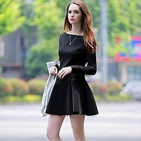 Women's Fashionable Casual Work Micro-elastic Long Sleeve Above Knee Dress (Spandex Elastic)