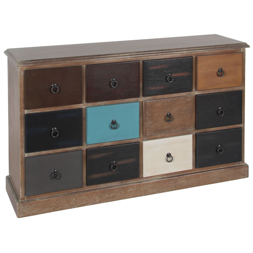 Best Natural Drift Wood Multi Coloured 12 Drawer Unit A 640 x 480