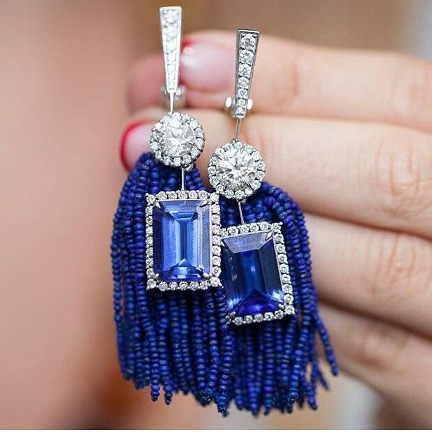 Tanzanite, lapis lazuli and diamond earrings, by Silvia Furmanovich. @silviafurmanovich #jewelrydesign #jewelry #finejewelry #tanzanite via @jewellery.salon via @gemologue