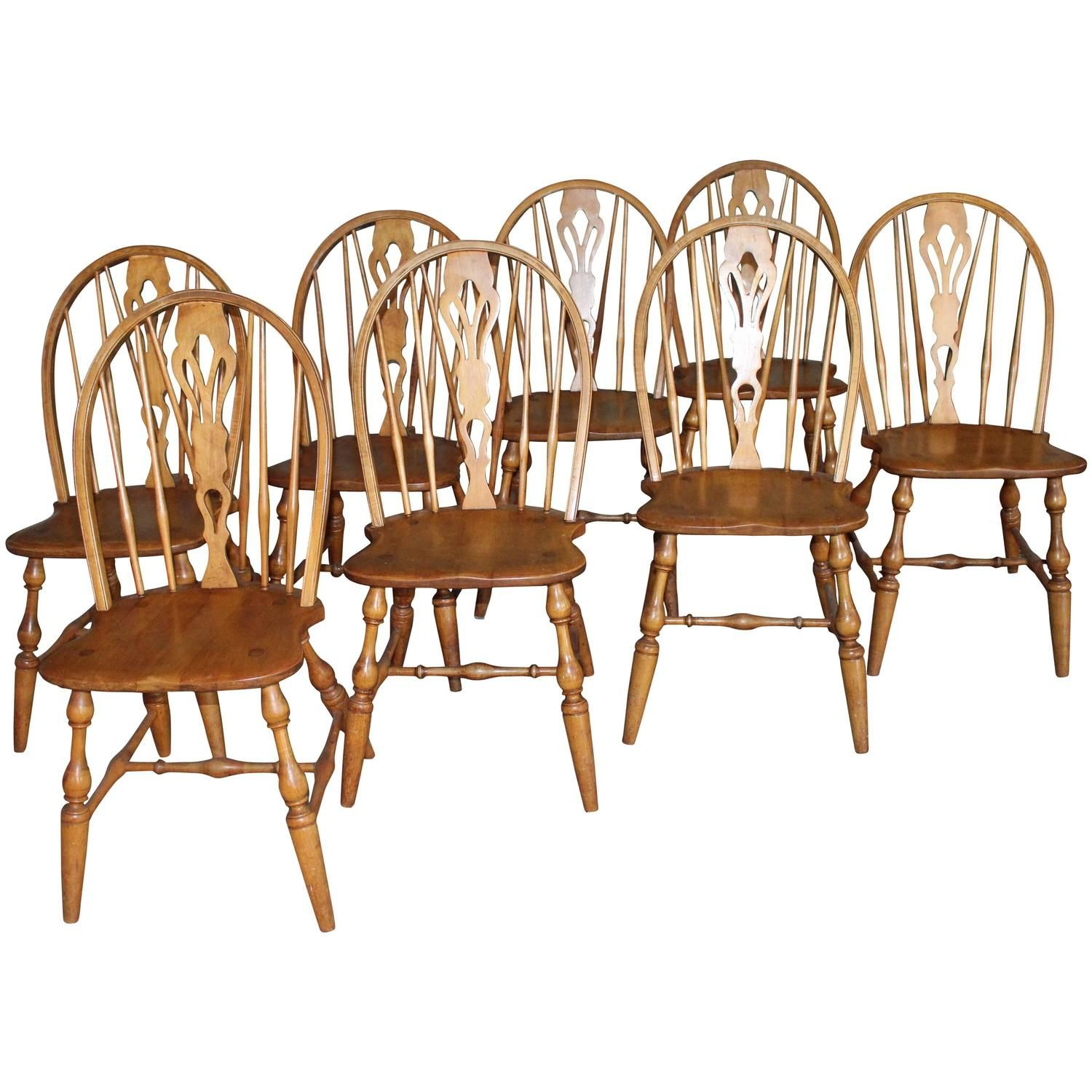 Room · English Windsor Bow Brace Back Dining Chairs With Decorative ...