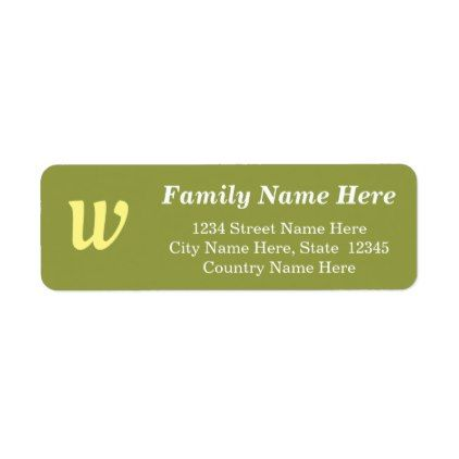 Basic Custom Initial Letter Return Address Label  Return Address