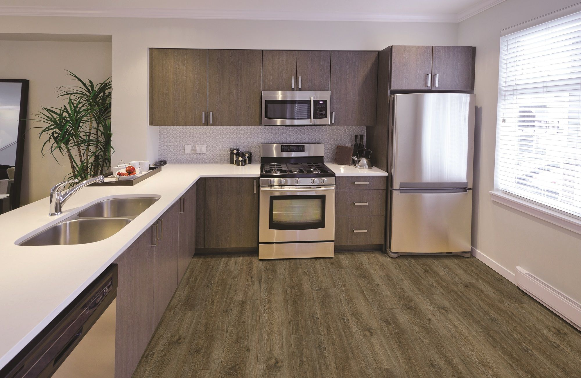 Coretec plus xl muir oak modern kitchen lvt planks Luxury kitchen flooring