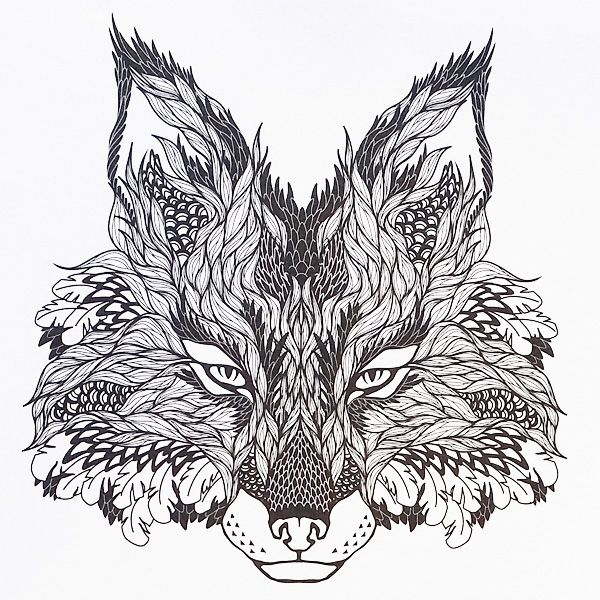 an awesome looking fox design from tattoo designs a creative colouring book for adults adult