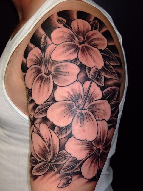 Hibiscus Half Sleeve Tattoo Done In Black And Grey By Kevin Buckstrup Men Flower Tattoo Hibiscus Tattoo Black And White Flower Tattoo