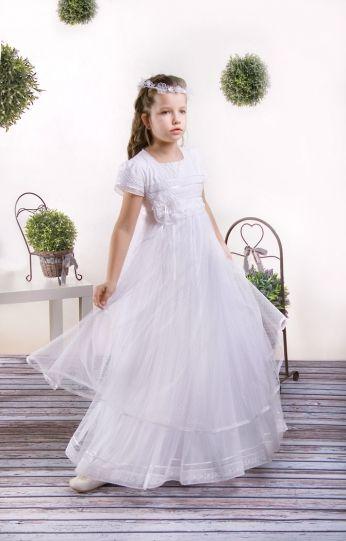 db9920c25e Delikatna sukienka komunijna w stylu empir