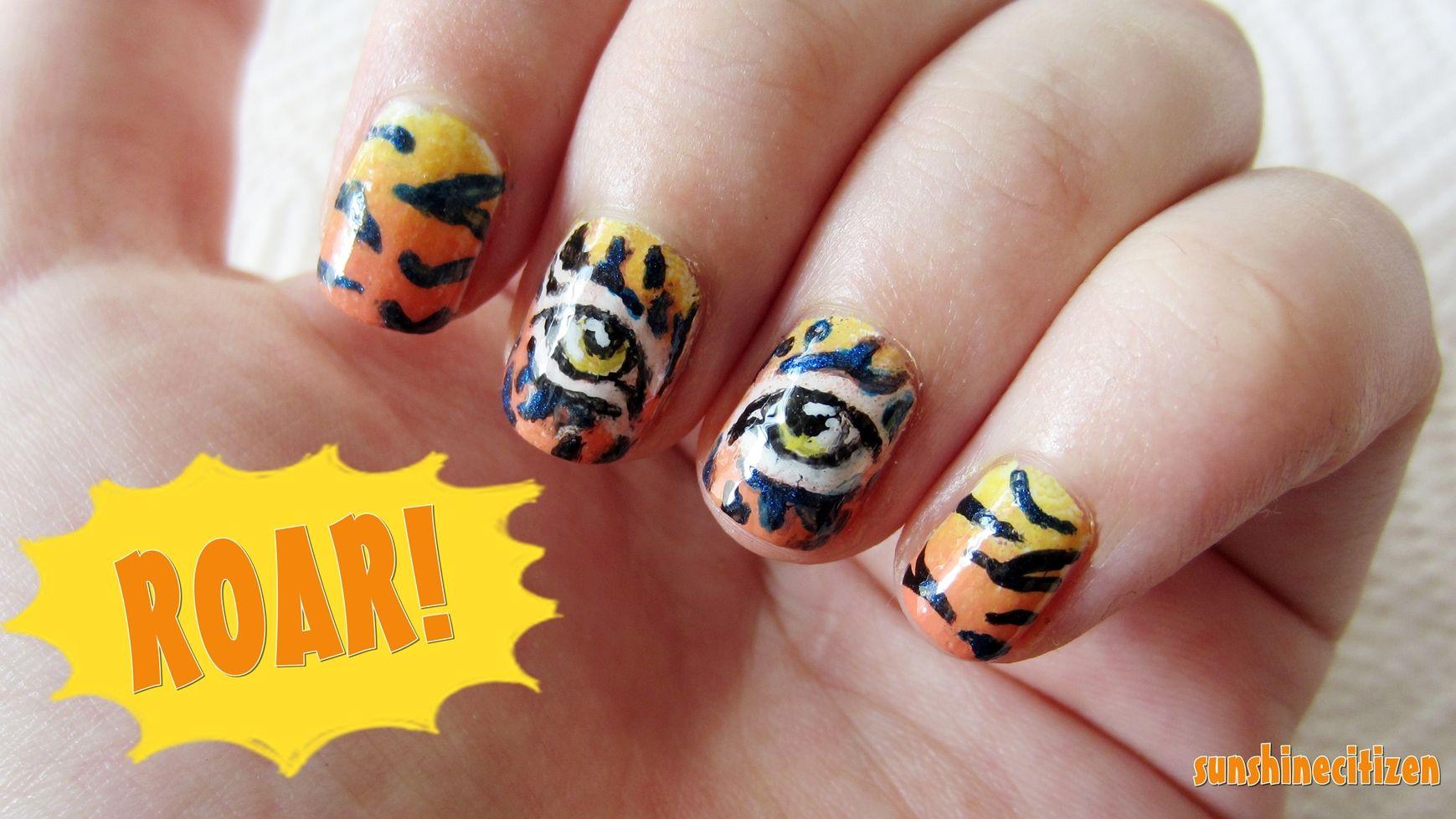 tiger nails!!! ROAR!!!!!!!!!! | LOL:) | Pinterest | Tiger nails
