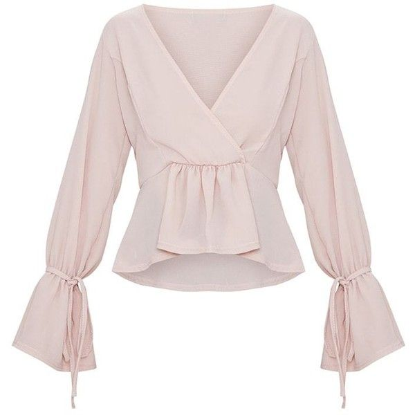 Blush Chiffon Deep Plunge Blouse ( 21) ❤ liked on Polyvore featuring tops 744d243aa