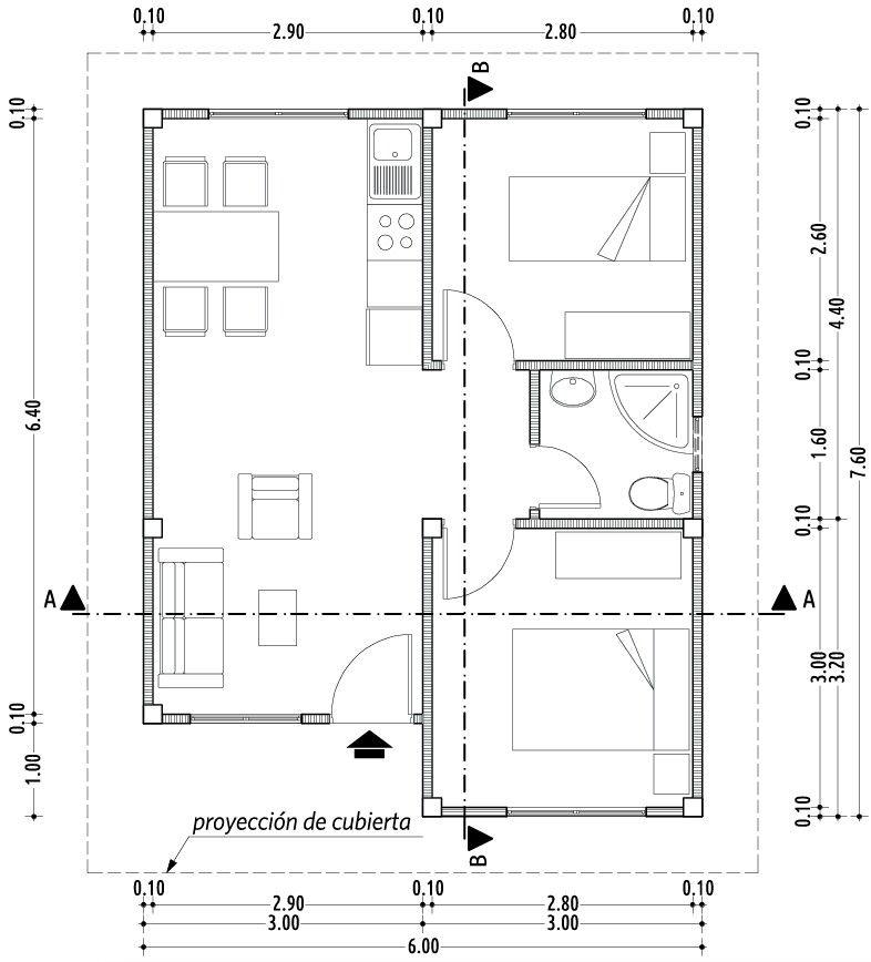 Casa pequena de 2 quartos arquitetura pinterest casas pequenas quartos e facudade - Planos casas pequenas ...