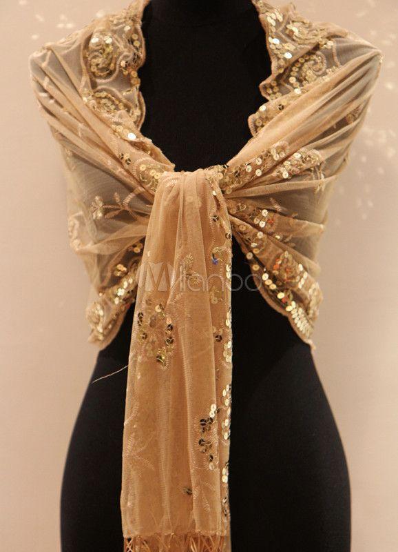 Gold Tassels Satin Polyester Bridal Wedding Shawl 1920s Fashion Wedding Shawl Special Occasion Shawl