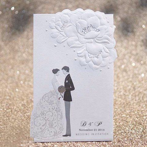 Black White Embossed Bride Groom Wedding Invitations
